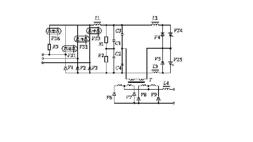 Упрощённая принципиальная схема выпрямителя ВДУЧ-301